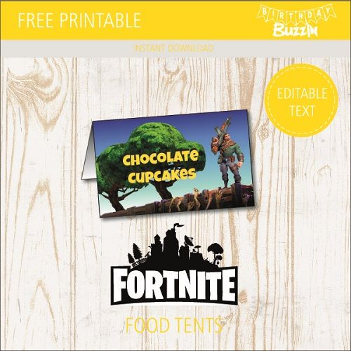 image regarding Free Fortnite Printable Labels referred to as Totally free Printable Fortnite Foodstuff Tents Fortnite Birthday Occasion