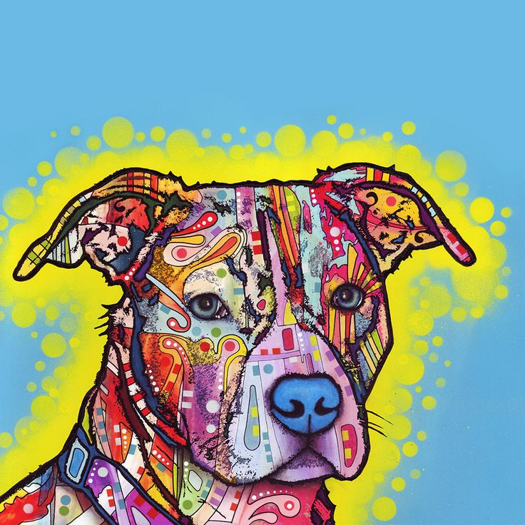 Painted Pit Bull Wall Sticker Decal Animal Pop Art by Dean Russo
