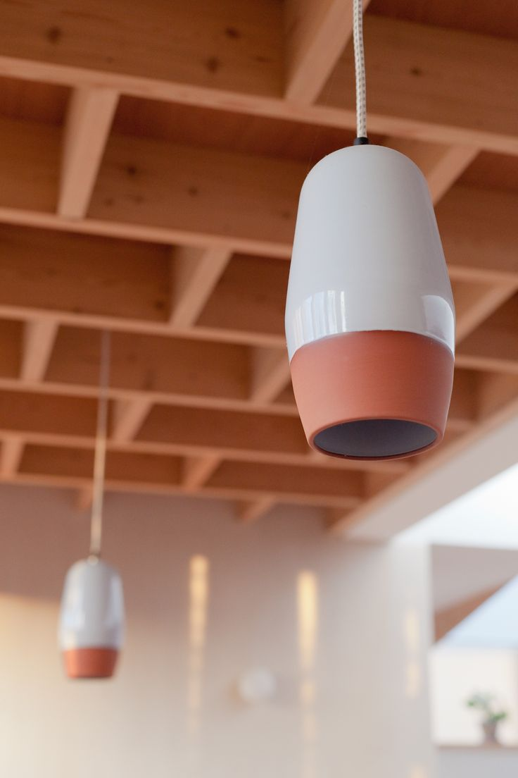 Exposed timber structure roof. Terracotta pendant lights from Hand and Eye Studio. Internal pale pink render,