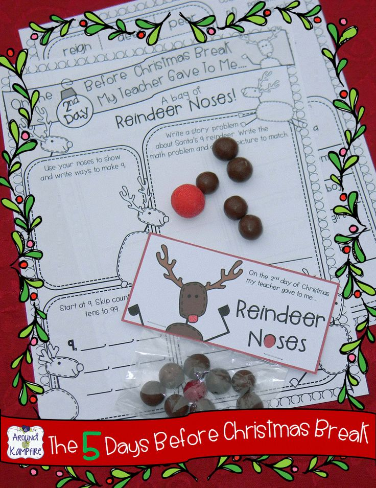 Classroom countdown for the 5 days before Christmas break with daily printables and matching (super simple) student gifts.  Students use the treats to complete the activity pages!