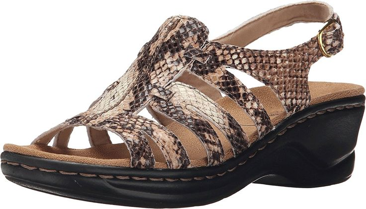 Clarks Women's Lexi Marigold Q Beige Synthetic Snake Sandal 7.5 A - Narrow * Don't get left behind, see this great outdoor item - Clarks sandals
