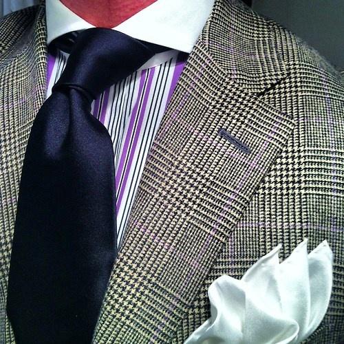 Checked suit striped purple label shirt black silk tie for Black ralph lauren shirt purple horse