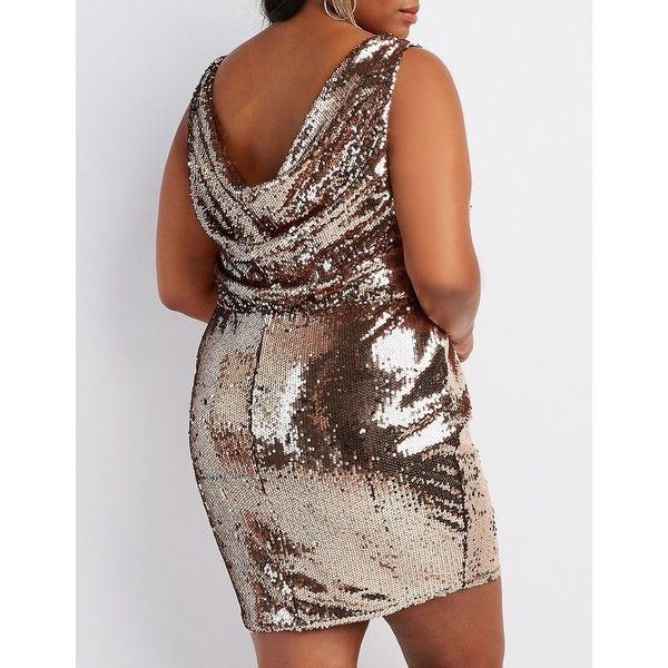 Charlotte Russe Sequins Cowl-Back Bodycon Dress ($32) ❤ liked on Polyvore featuring plus size women's fashion, plus size clothing, plus size dresses, bronze, sequin cocktail dresses, brown bodycon dress, cowl back dress, brown cocktail dress and brown sequin dress