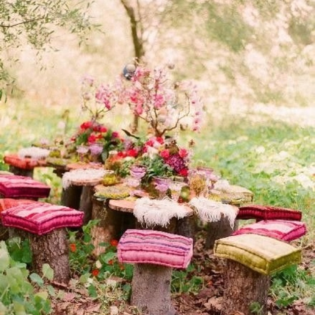 Tea party: Party'S, Fairies Teas Parties, Outdoor, Picnics, Tea Parties, Garden Parties, Parties Ideas, Gardens Parties, Trees Stumps