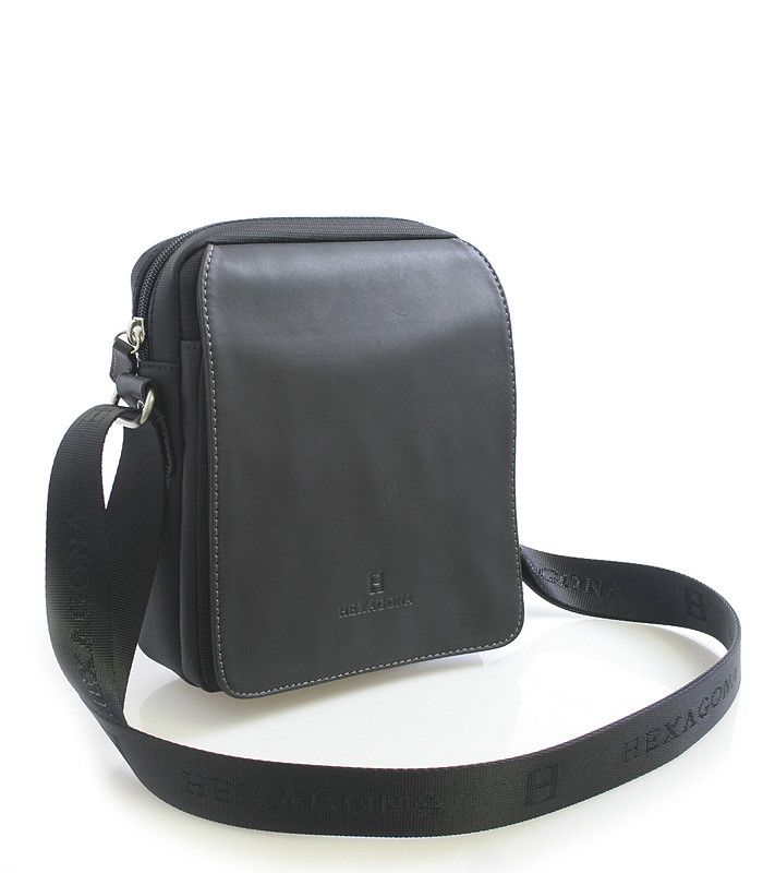 #Hexagona Černá pánská kožená taška přes rameno Hexagona 299162