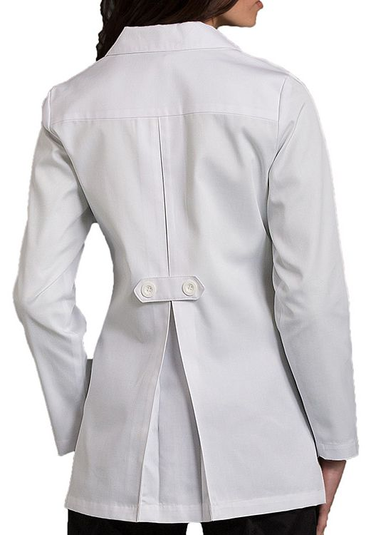 This lab coat has got the fashion details GOING ON between the pleated back and the notched collar.