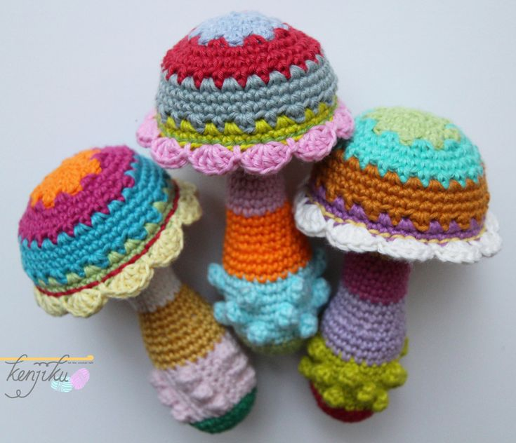 Mushroom Baby Rattle - Crochet Pattern DIY by KenjikuMade on Etsy