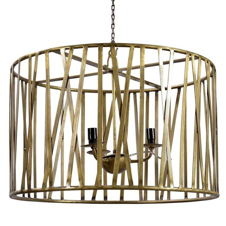 Dovetail iron 3 light chandelier brass