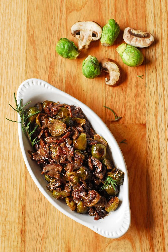Brussels Sprouts and Mushrooms in Rosemary Red Wine Cream Sauce from A ...