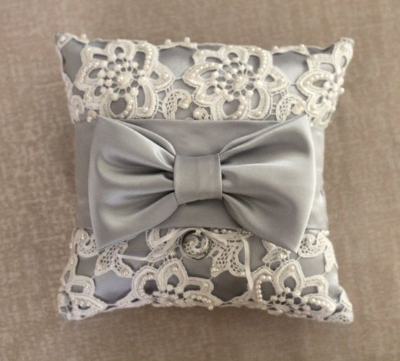 Silver Lace Ring Bearer Pillow with Pearl Beading and Bow. $47.00, via Etsy.