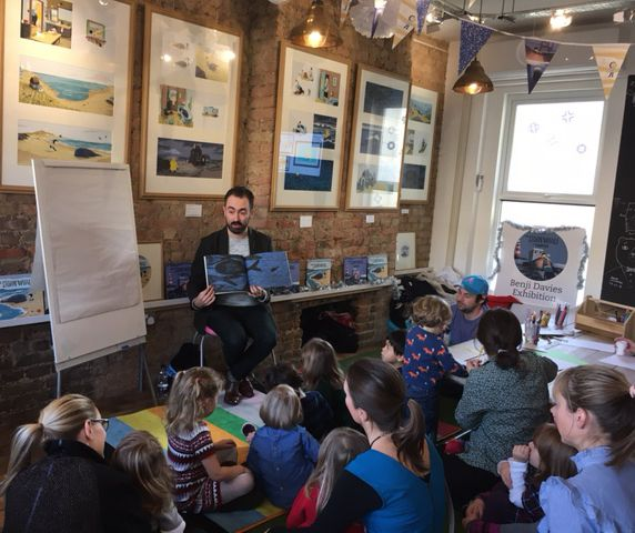 Benji Davies came to read us The Storm Whale in Winter at Storytime Sunday, a special visit for his new exhibition.