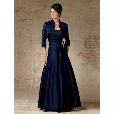 A line long navy blue satin mother of the bride dress with jacket, Sofie House