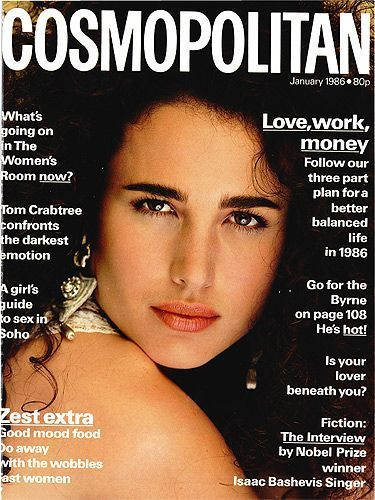 Andie on the cover of Cosmopolitan magazine, January, 1986.
