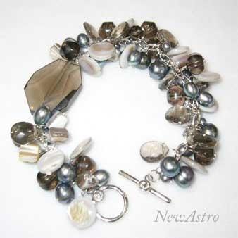 Smoky Quartz armbånd med perler udført i Sterlingsølv