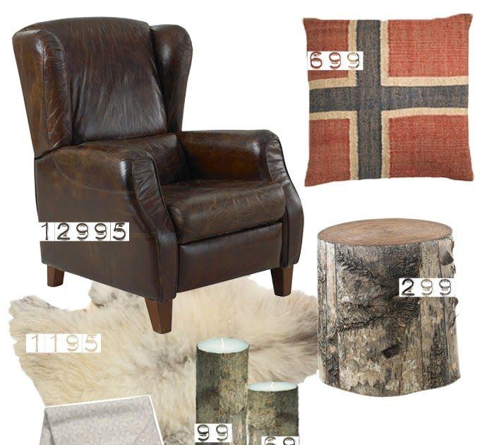 En klassisk lenestol i skinn, rutete sengesett og innslag av bark skaper den koselige og lune stemningen som passer perfekt på ei hytte på f...