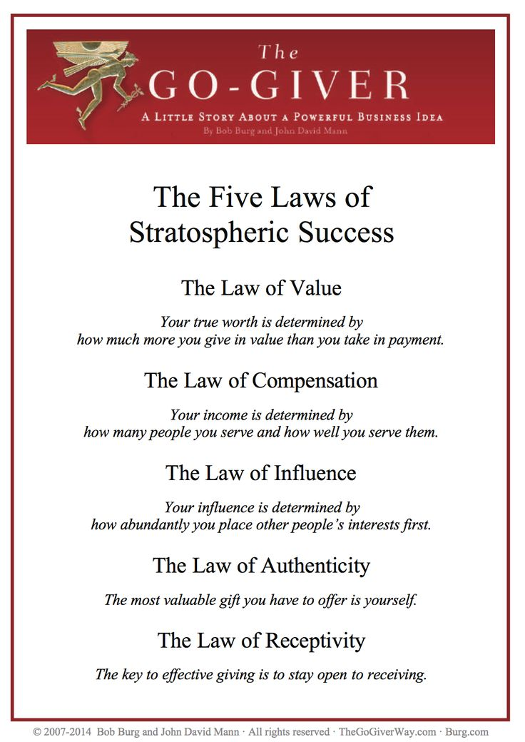 5 laws of stratospheric success  http://www.lawrencetam.net/lt-8-the-go-giver-interview-with-author-bob-burg/