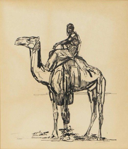 """Paul JOUVE """"Touareg à chameau"""" Encre. Signée en bas à droite. 42 x 37"""