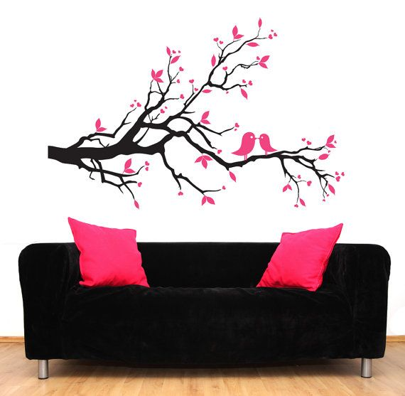Going to draw this on a canvas :): Branches Decals, Black Couches, Pink Trees, 69 00, Decals Black, Birds Decals, Modern Decals, Trees Branches, Tree Branches