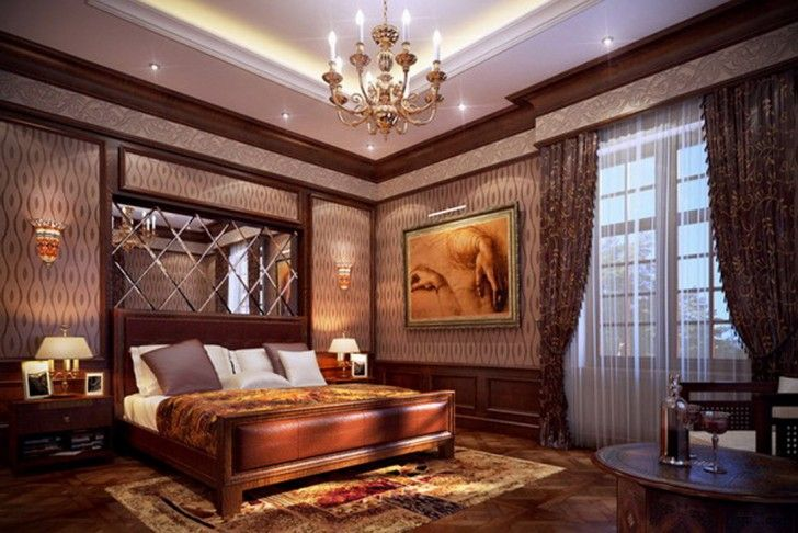 Romantic Classic Themed Bedroom Design With Beautiful Wall Decorating And Traditional Frame Bed Also Luxurious Chandelier For Glamorous Vintage Bedroom Design Ideas 17 Glamorous Vintage Bedroom Design Ideas Bedroom