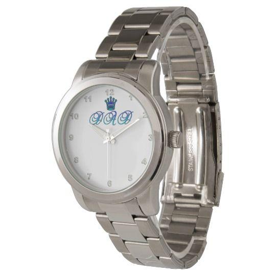 DAD Oversized Silver Bracelet Watch by www.zazzle.com/htgraphicdesigner* #zazzle #gift #giftidea #dad #birthday #fathersday #wrist #watch #bracelet #oversized #silver
