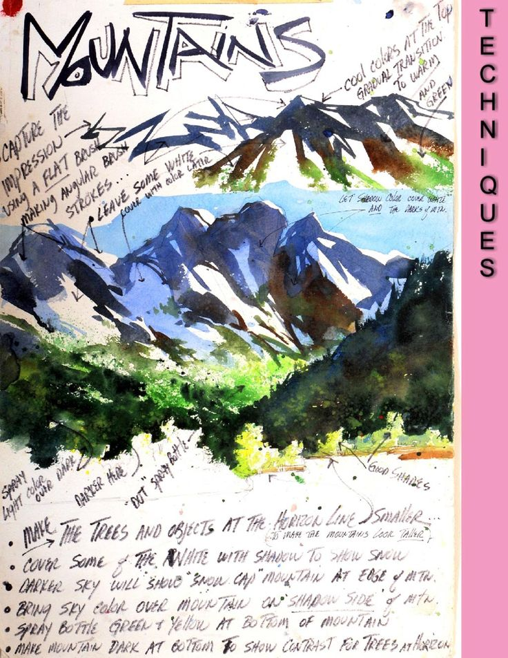 Techniques for painting mountains in watercolour (watercolor)