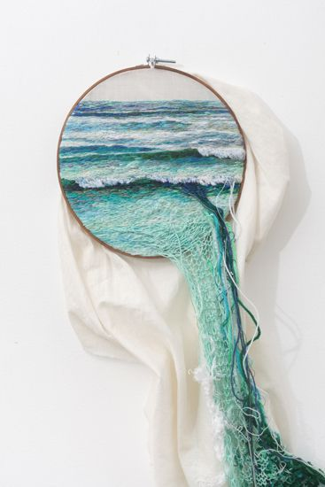 SUSPENSIÓN by Ana Teresa Barboza. Embroidery thread and woven into cloth - #SummerSolstice