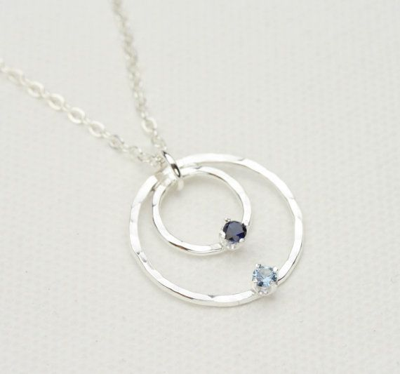 Birthstone Necklace, Mother and Child Necklace, Mothers Necklace, Hammered Silver Circle with Birthstone Accents, Mothers Jewelry on Etsy, $49.00