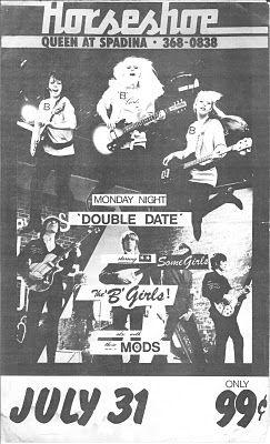B-Girls, The Mods @ Horseshoe Tavern, Toronto, July 31st, 1978