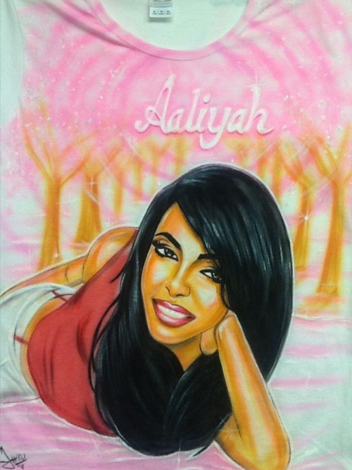 Aaliyah shirt Airbrushed and Handpainted #Gildan #PersonalizedTee