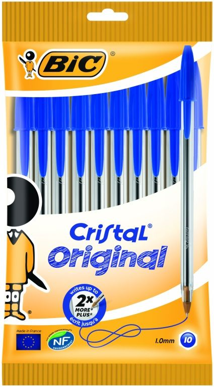Stationery || BIC Cristal Original- Blue Ballpoint (pack of 10)