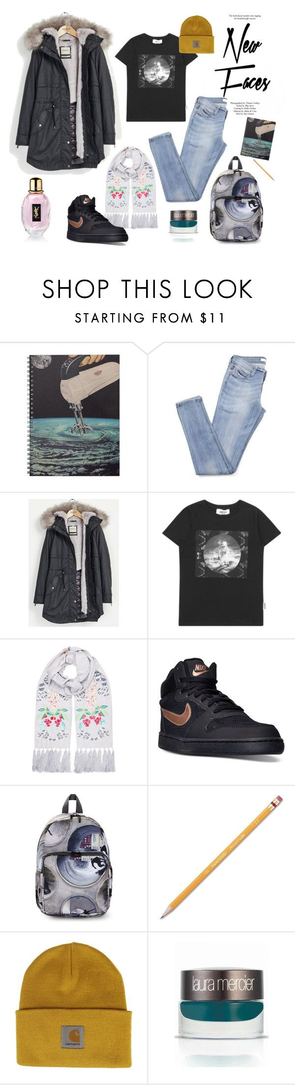 """""""Winter Walk"""" by teopintea ❤ liked on Polyvore featuring Topshop, Parka London, Someday Soon, Temperley London, NIKE, Molo, Paper Mate, Carhartt, Laura Mercier and Yves Saint Laurent"""