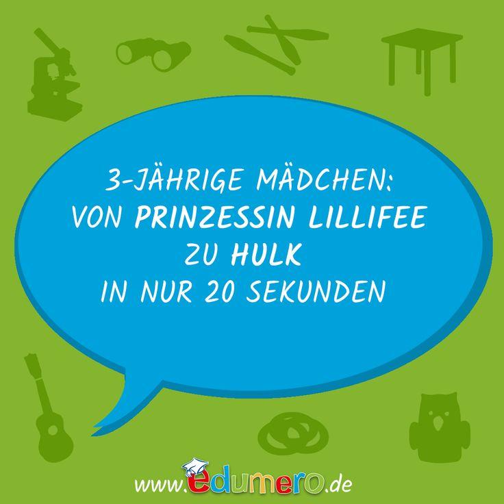 3 -jährige Mädchen: von Prinzessin Lillifee zu Hulk in nur 20 Sekunden #edumero #edumerokindersprüche #edumeroquotes