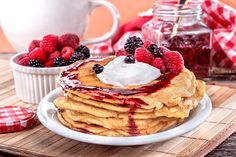 Buckwheat Pancakes with Raspberries, Blackberries, and Blueberries: Get a triple serving of antioxidants with this pancake.