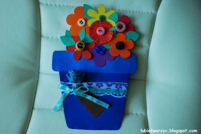 Kartka w kształcie doniczki :P  #pot #flowerpot #plantpot #doniczka #giftcard #kartka #MothersDay #DzienMatki #DIY #instruction #howto #lubietworzyc #handmade