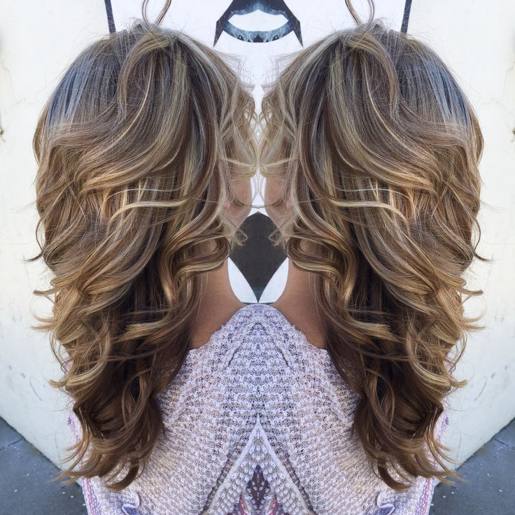 High and low light with layers and curls