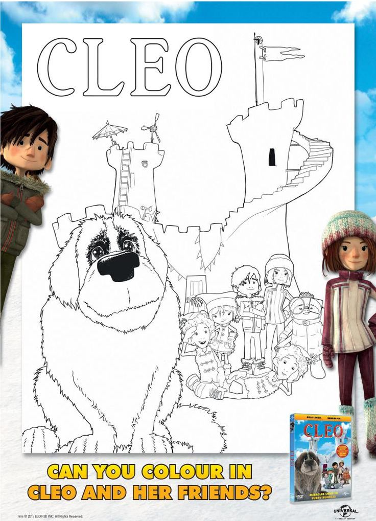 Cleo colouring page printable, from new cartoon movie about Cleo the dog, with Sandra Oh and Ross Lynch
