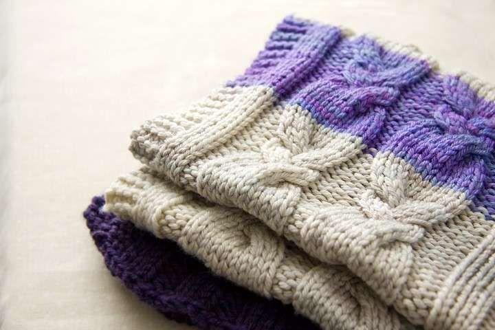Coperte di lana ai ferri - Coperta bianca e viola