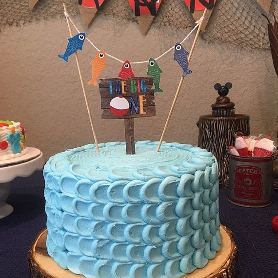 Gone Fishing Birthday Cake Topper // Smash by PrettyPaperBoutique2