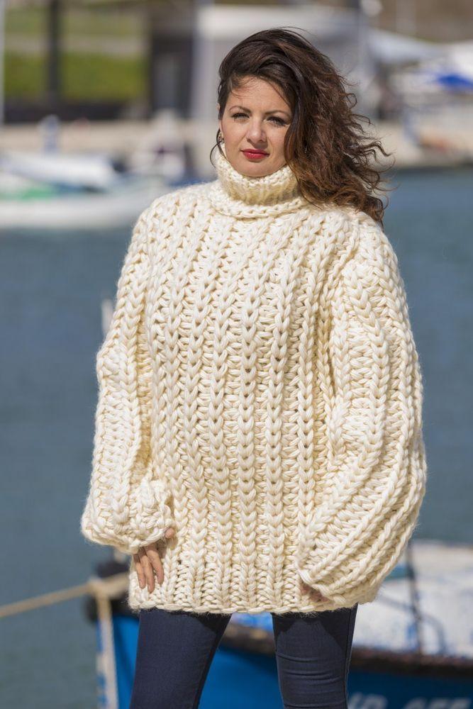 cd76b2127 Ready to Ship Huge 6 strands 100 % Wool T neck Sweater Hand Knit ...