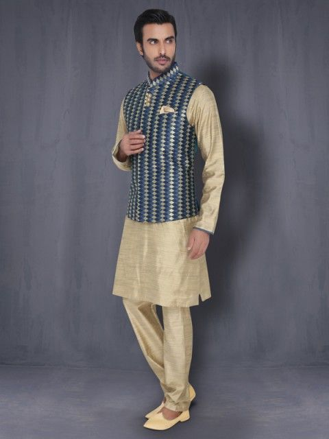 Light Gold Kurta with Blue Koti