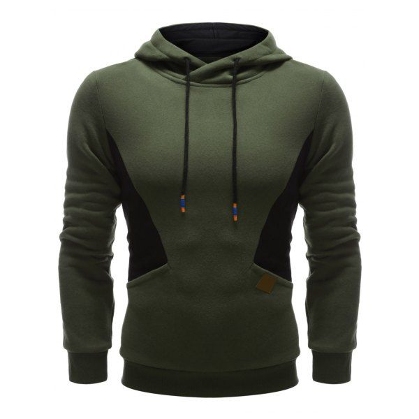 Color Splicing PU Leather Embellished Hoodie - ARMY GREEN S