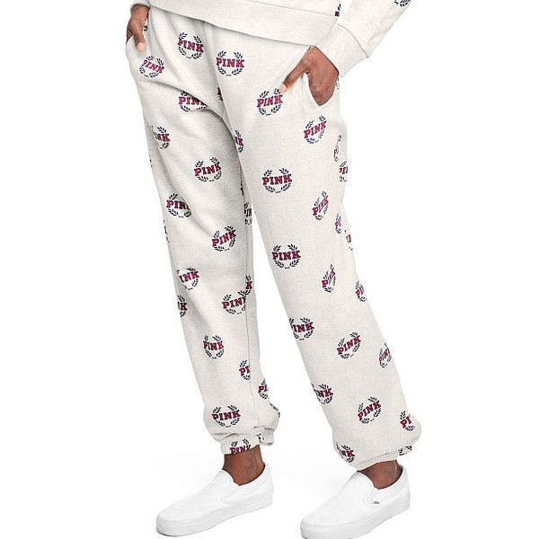 Cute Sweatpants & Joggers for Women - PINK ($77) ❤ liked on Polyvore featuring activewear, activewear pants, skinny leg sweatpants, skinny sweatpants, white sweat pants, pink sportswear and skinny sweat pants
