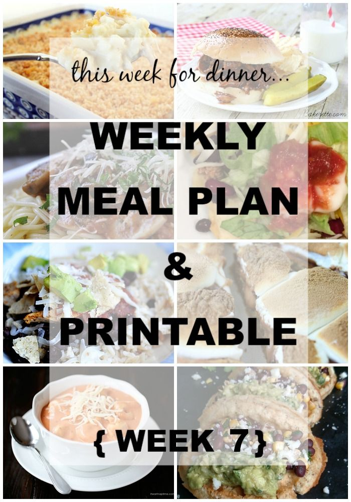 Weekly Meal Plan No. 7  | Weekly Meal Plan from your favorite bloggers! They do all the planning for you. Even give you a shopping list you can fill in with what you need! } www.thirtyhandmadedays.com: