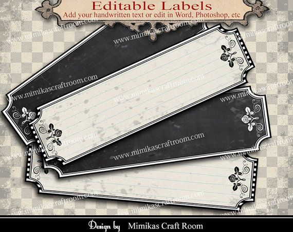 Printable Blank Labels add your text digital by mimikascraftroom