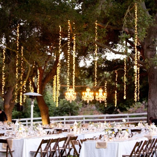 These Outdoor Lighting Ideas Will Brighten Up Your Summer: Hanging Lights. Love The Single Strand