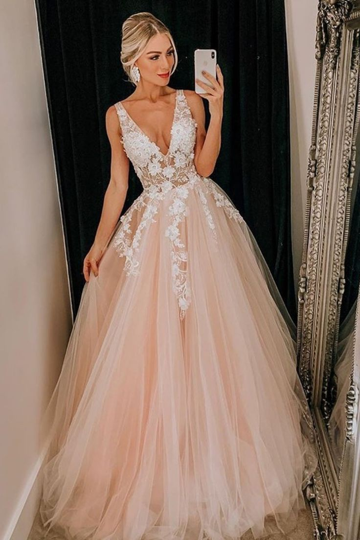 $12 Pink Ball Gown - Princess V Neck Pink Long Ball Gown with