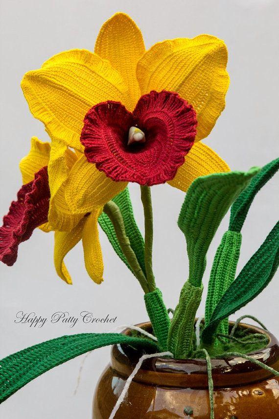 Haak orchidee patroon gehaakte Cattleya Orchid patroon voor