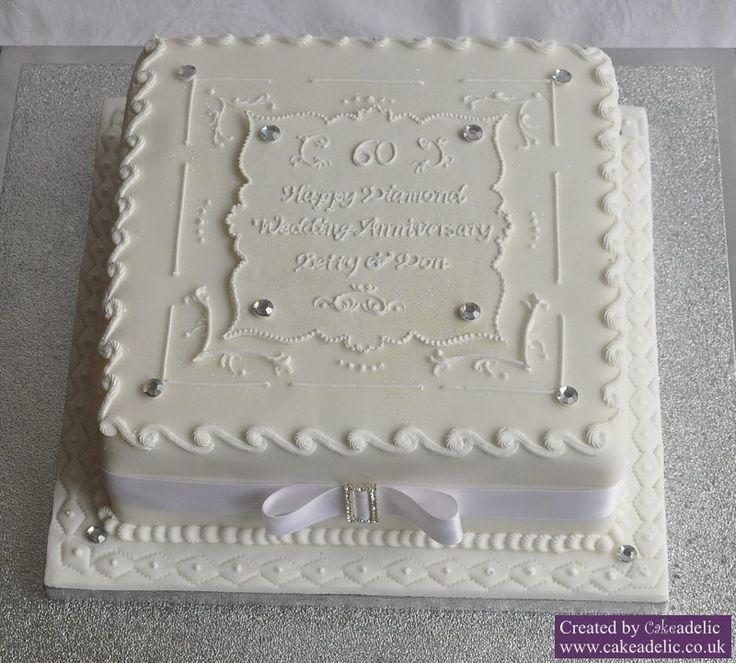 60th Anniversary Cake, I like the white on white
