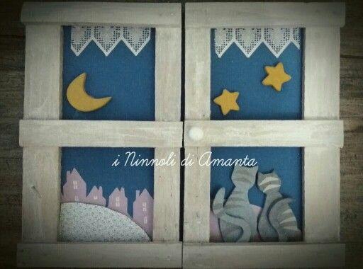 """""""Piccola ode alla luna"""" Rilievo in legno, cm65x65 circa. I Ninnoli di Amanta 2016."""