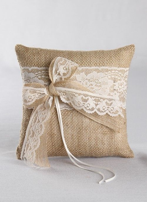 Country Romance Ring Pillow, Available in white or ivory
